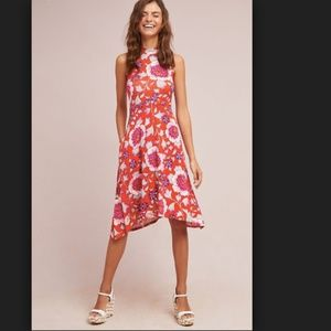 Maeve Cleary Dress Orange Floral High Neck Swing